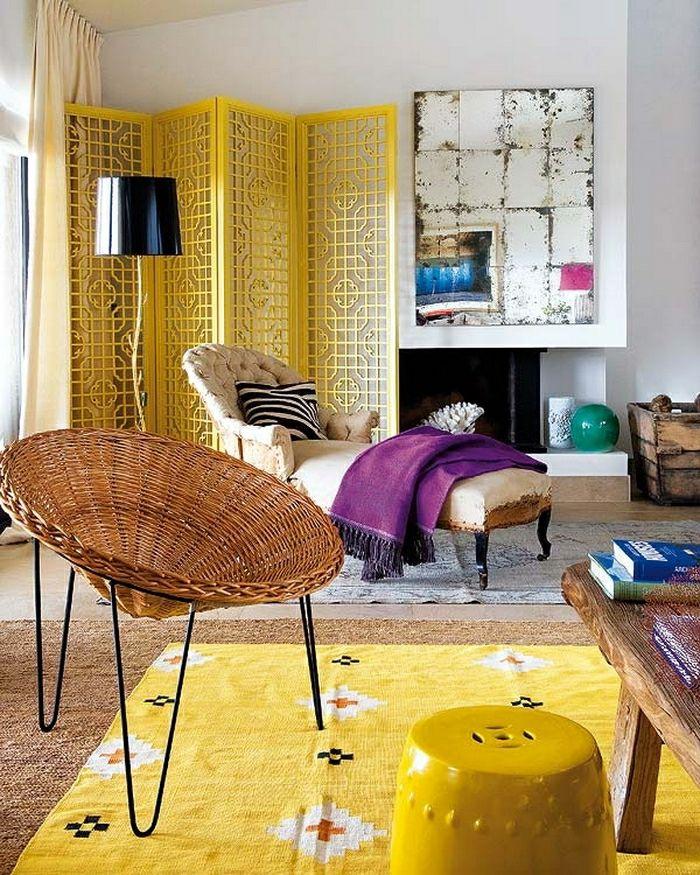 shabby chic möbel boho style einrichtungsstil gelber hocker - einrichtungsstile ideen