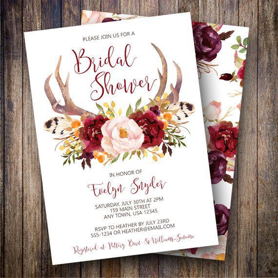 Rustic Antler Bridal Shower Invite