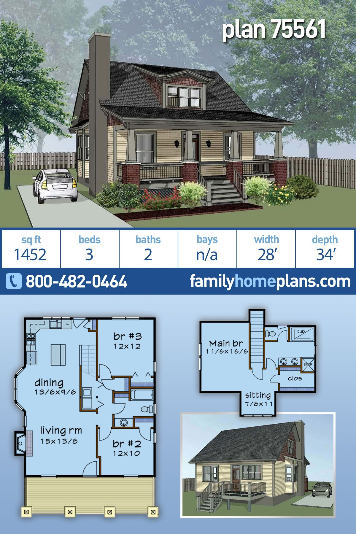 Craftsman Style House Plan 75561 With 3 Bed 2 Bath Craftsman Style House Plans Sims House Plans House Plans