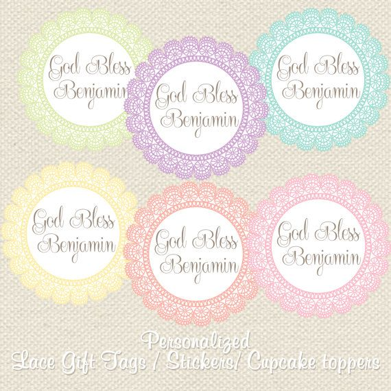 Personalized lace baptism and christening favor gift tags diy personalized lace baptism and christening favor gift tags diy printable file negle Choice Image