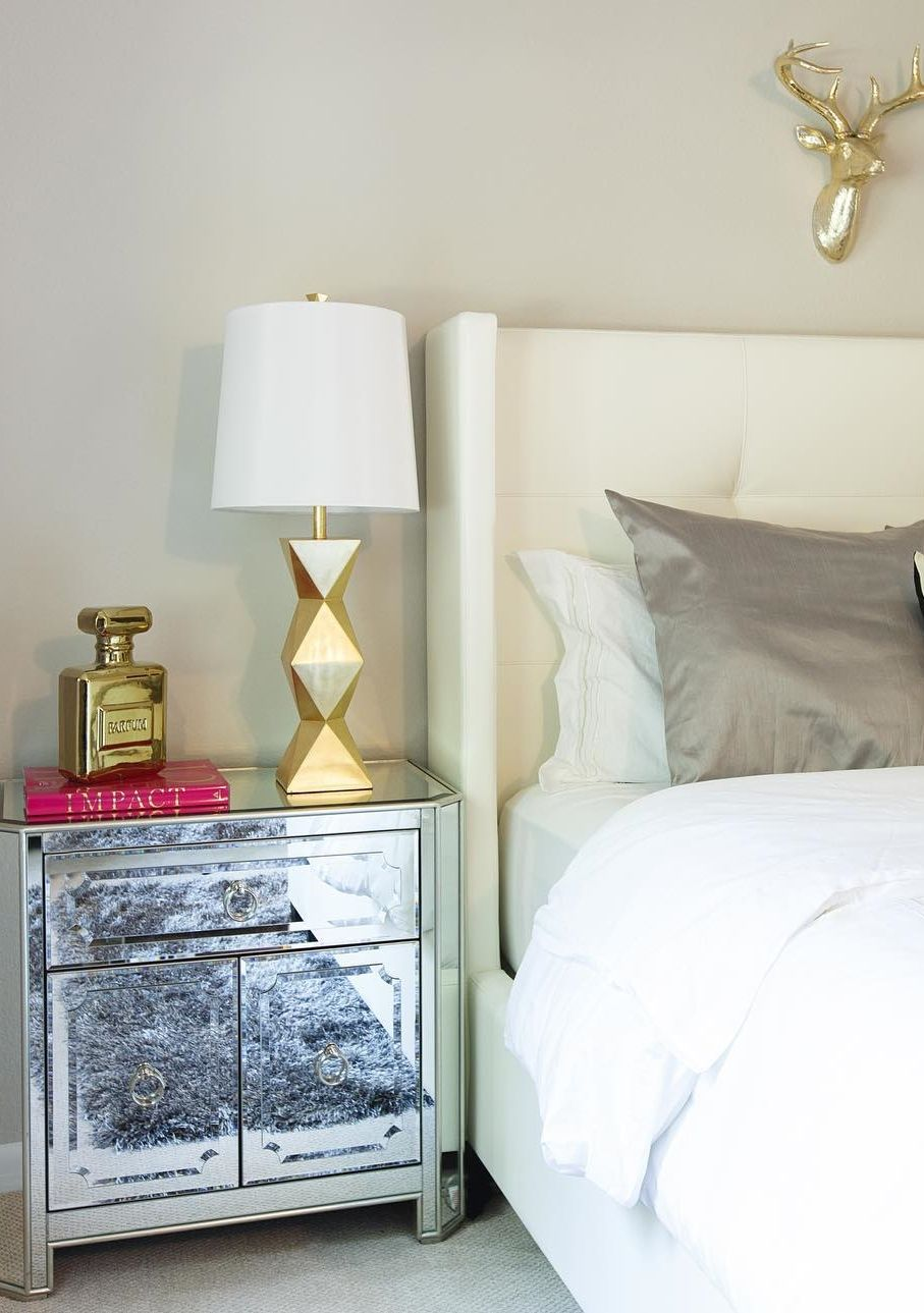 bedroom with mirrored furniture. Clean Crisp White (chic Teen) Bedroom With Mirrored Nightstand And Gold Accents. Side Table, Perfume Bottle Piggy Bank \u0026 Lamp From Furniture O