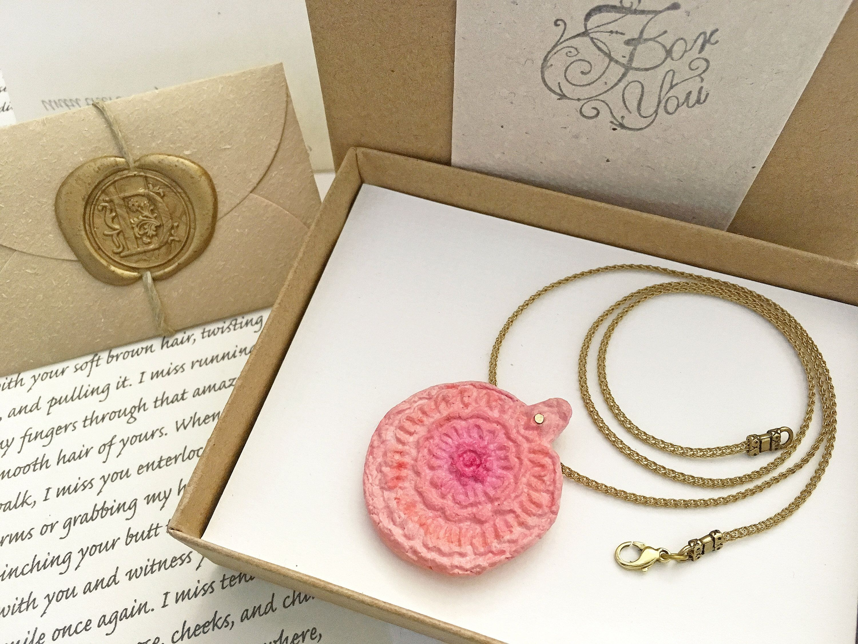 Spring wedding anniversary gift for wife pink paper necklace