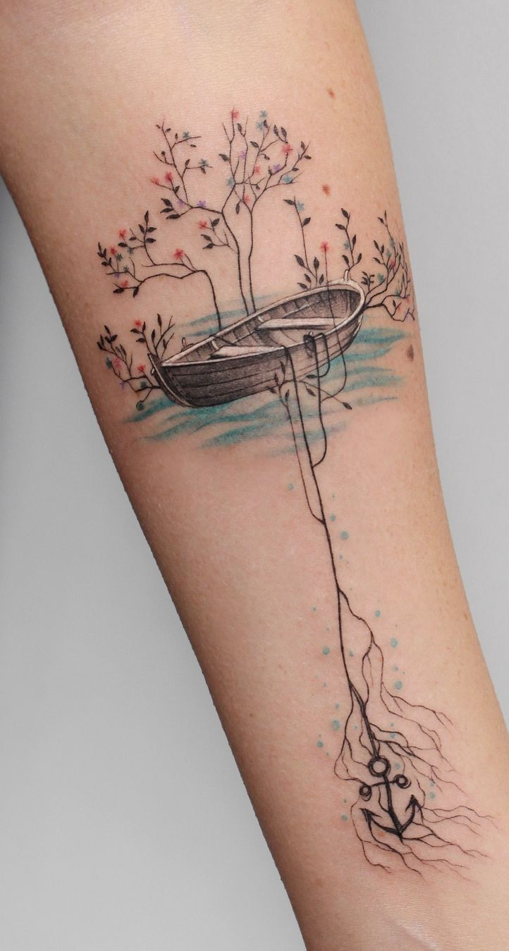 Photo of Rowboat watercolor tattoo
