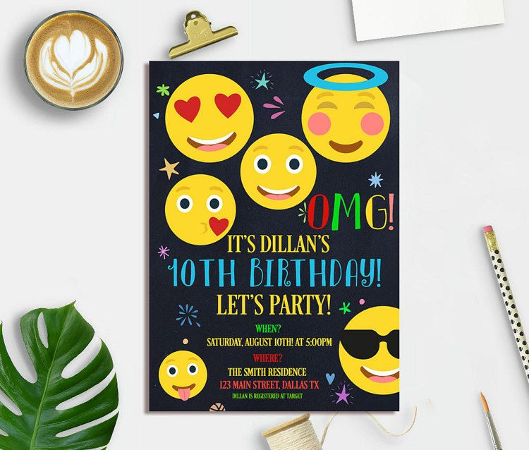 Emoji Birthday Invitation Party By Ohlillydesigns Printable Invitations Digital