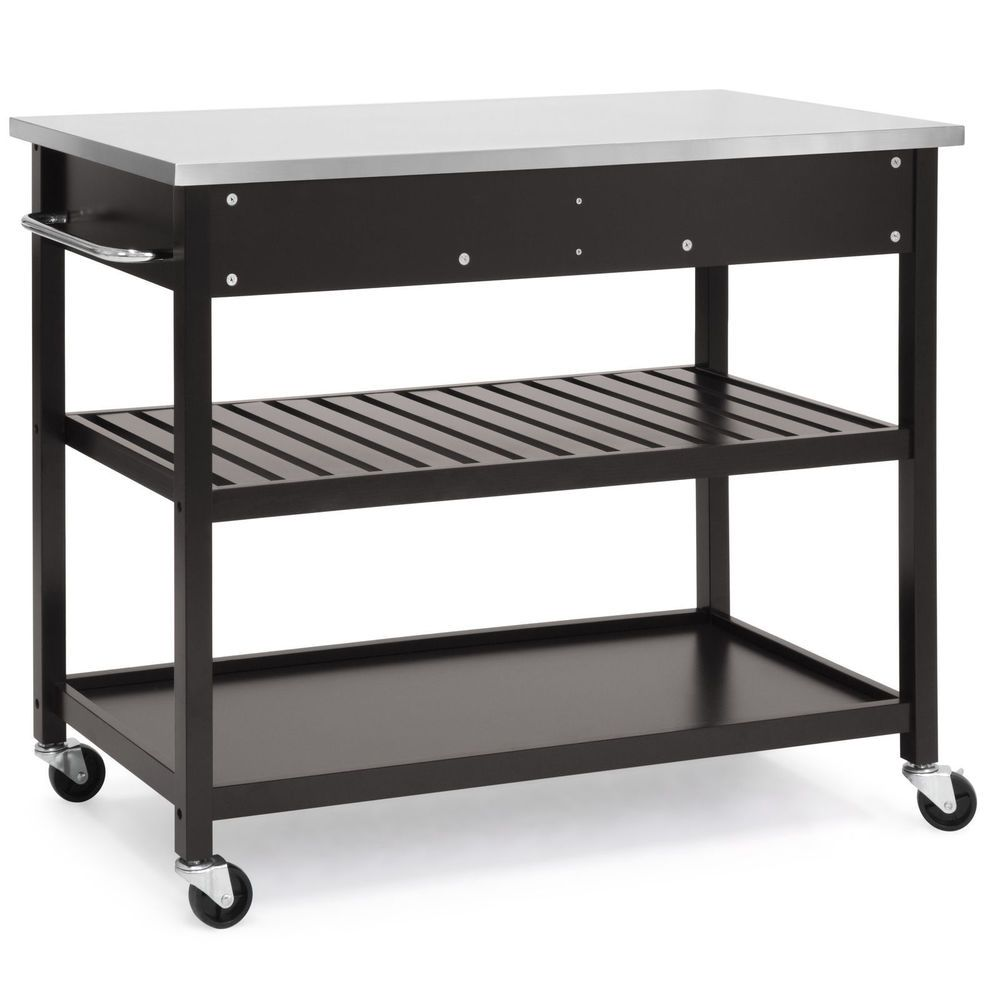 Details About Brown Wood Rolling Kitchen Island Storage Cart