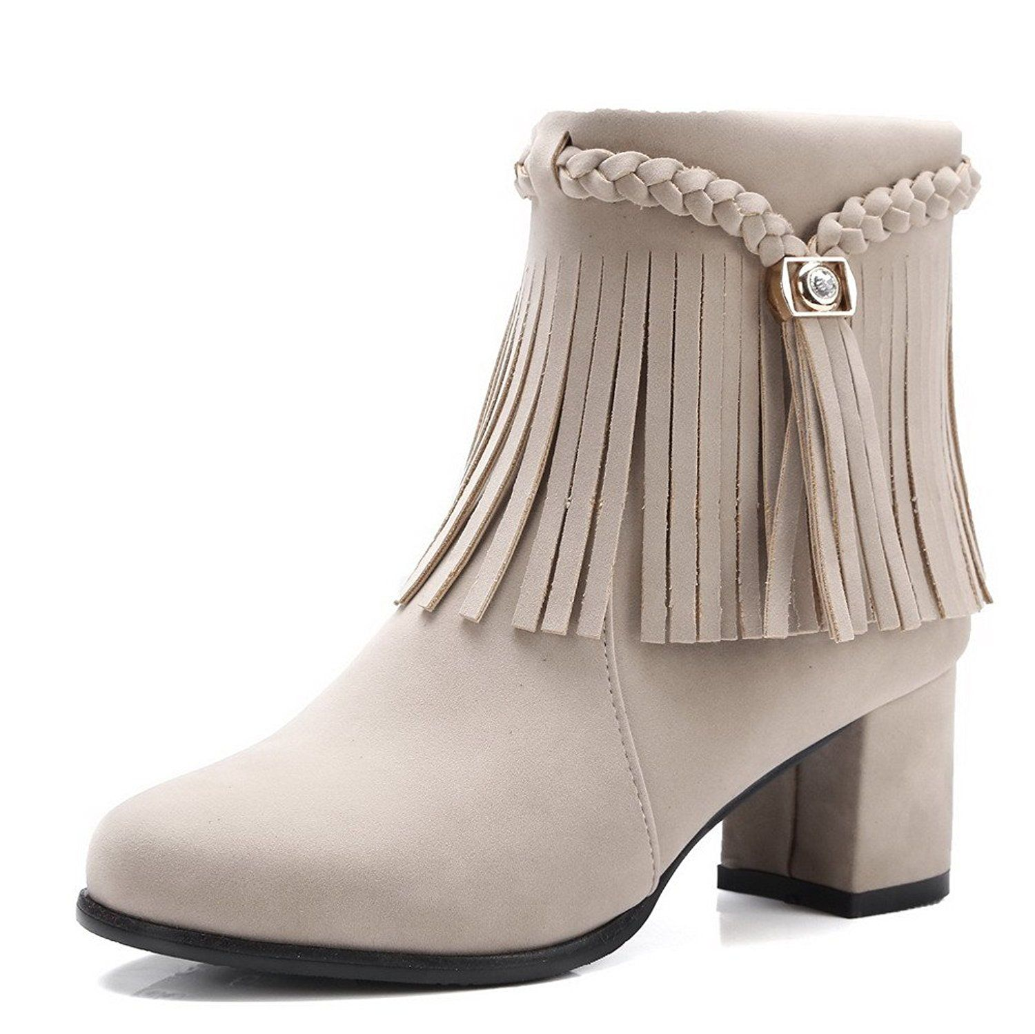 Women's Frosted Low Top Fringed Zipper High Heels Boots