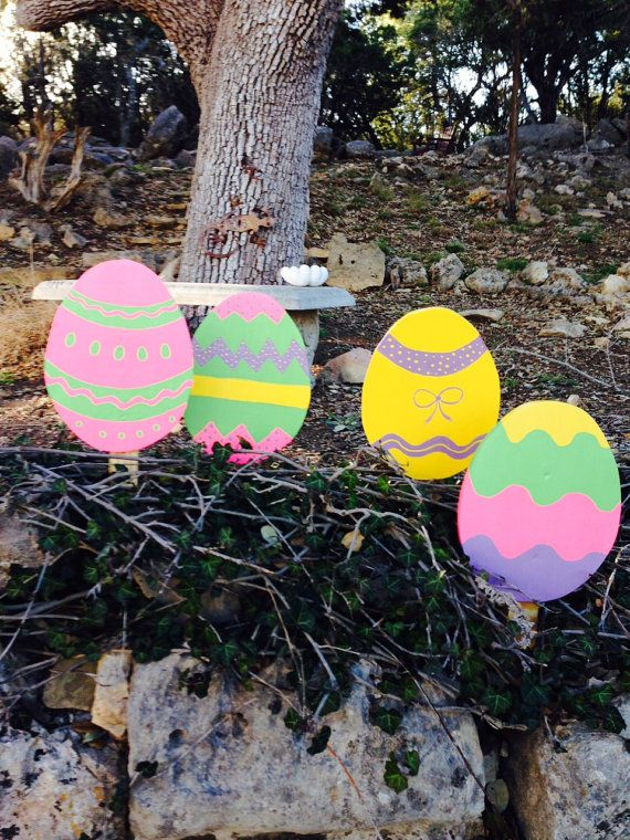 Easter Egg holiday yardstake yard art decorations.   by tbacrafts