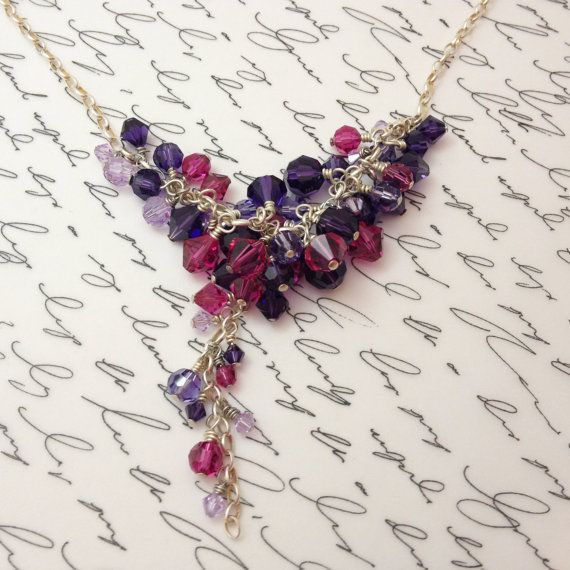 Pink and Purple Swarovski Crystal Charm Necklace by 916Designs