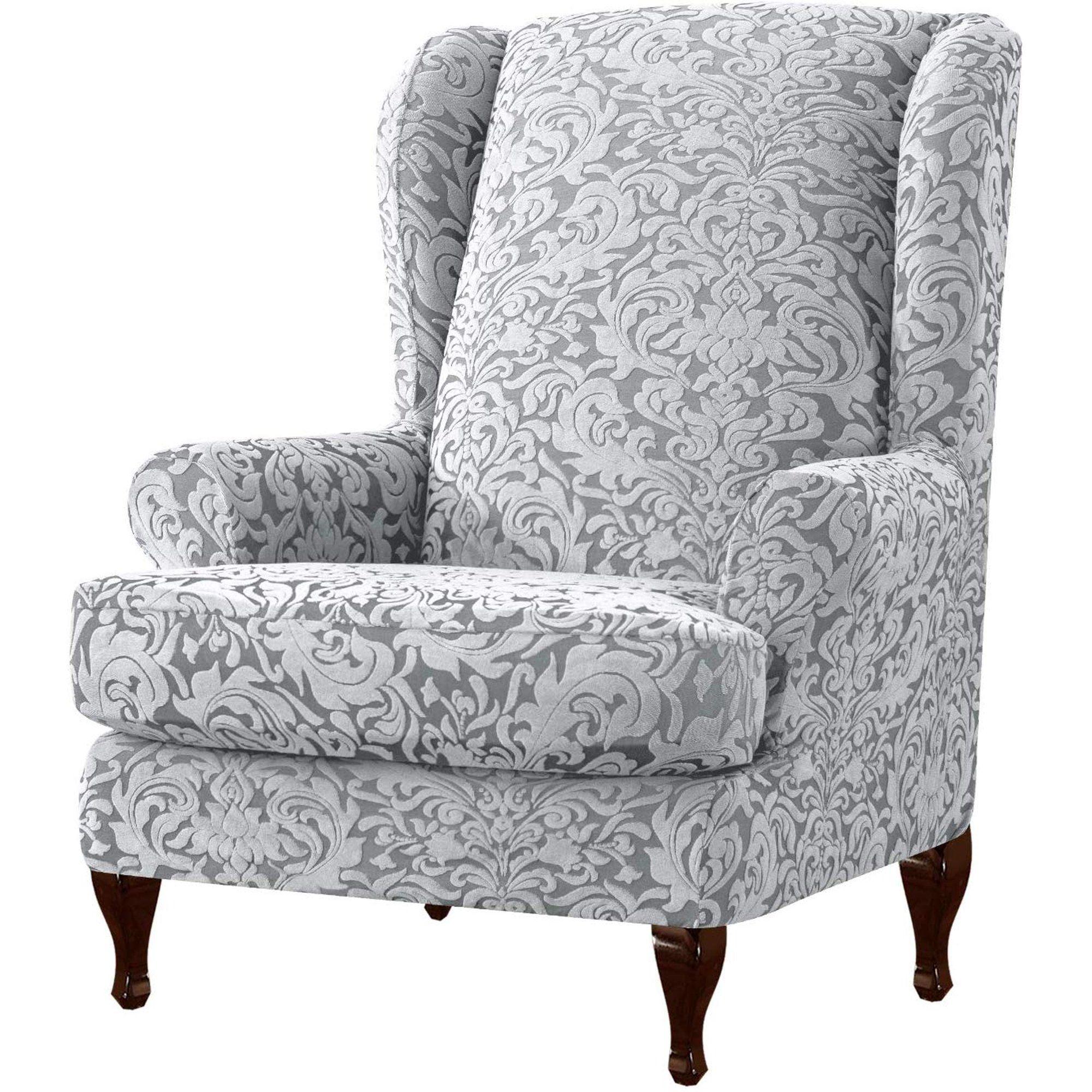 Subrtex Stretch 1Piece Jacquard Damask Wing Chair