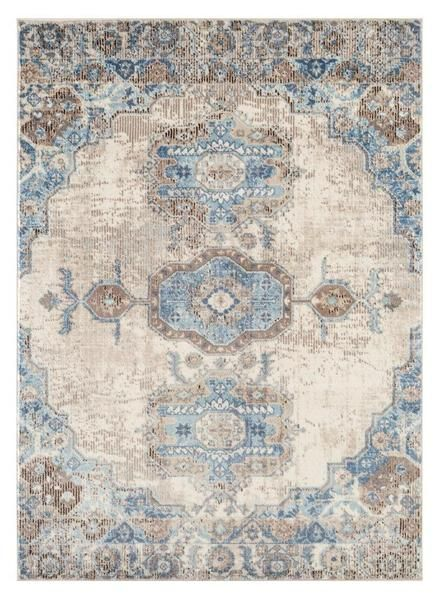 6570 Blue Ivory Persian Distressed Oriental Area Rugs In