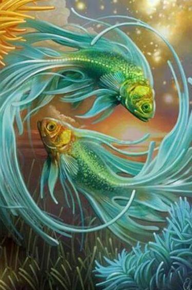 5D DIY Diamond Painting Full Round Fish Art Kit Diamond Embroidery Mosaic Animal