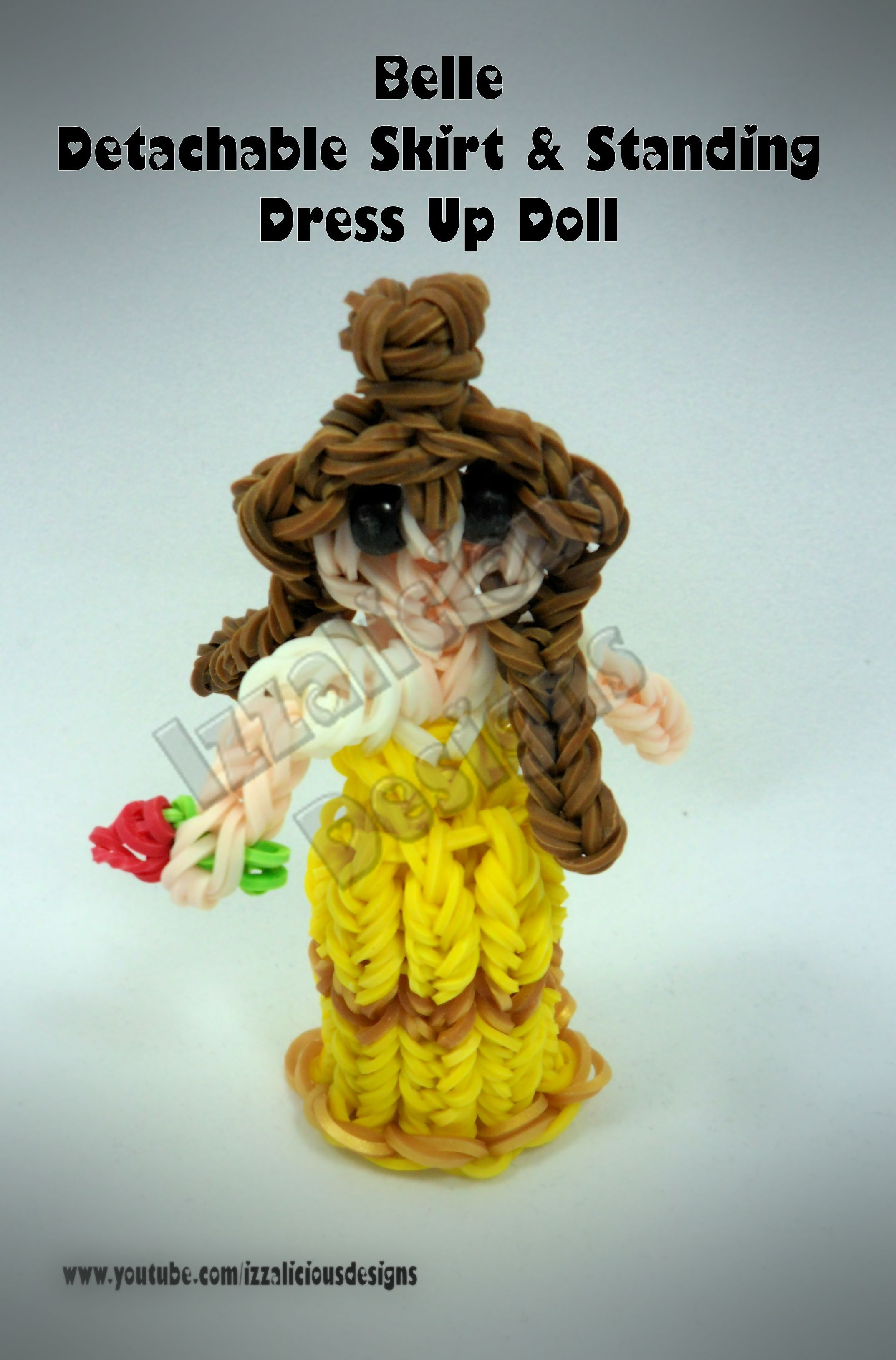 Rainbow Loom - Princess Series - Detachable & Standing Up 3D Skirts - Belle from Beauty & The Beast - Princesses using a single Rainbow Loom