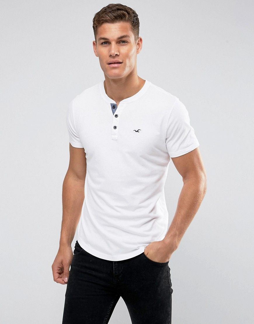 162561f7c Hollister Henley T-Shirt Slim Fit Icon Logo in White | Products ...