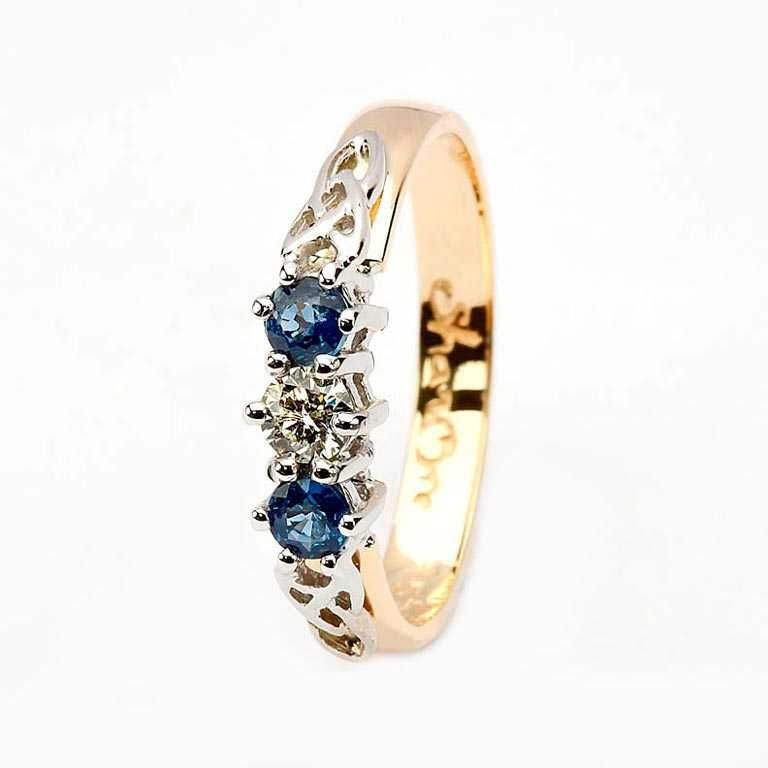 Sapphire And Diamond Celtic Ring 14k Yellow And White Gold