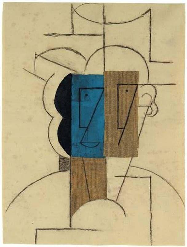 Pablo Picasso - Cabeza de hombre con sombrero, 1912