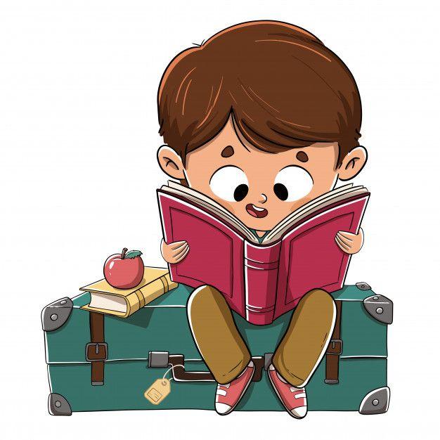 Boy Reading A Book Sitting On A Suitcase Premium Vector Freepik Vector School Travel Book Ed Kids Cartoon Characters Art Drawings For Kids Cartoon Pics