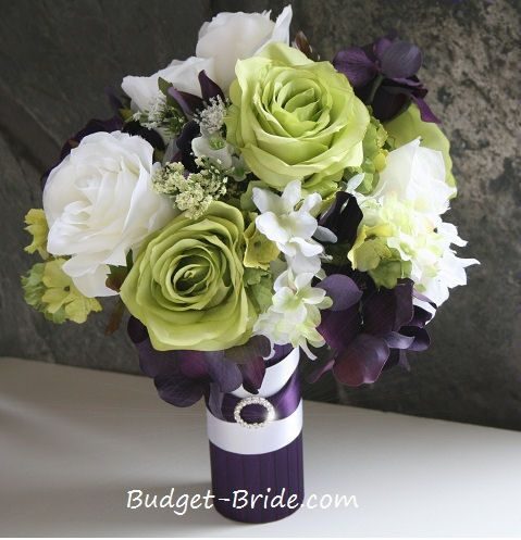 This bouquet as shown is made with ivory and bright green roses, ivory hydrangea and plum hydrangea