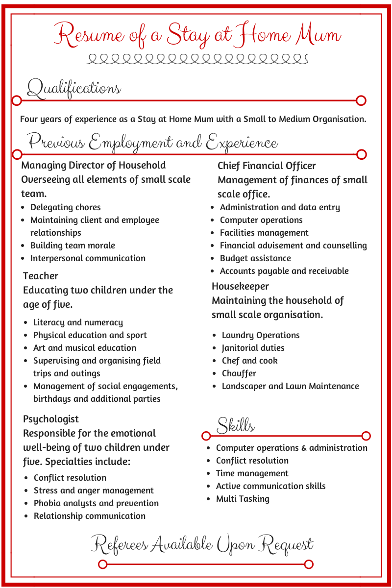 Resume Templates For Stay At Home Moms Resume Of A Stay At Home Mum