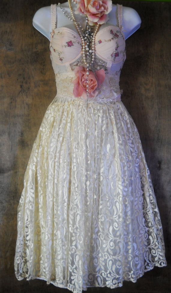 Cream lace dress roses baby doll fairytale by vintageopulence ...