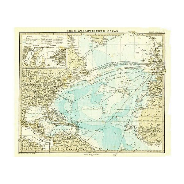 Pre-Owned North Atlantic Maritime Map 1880 ($175) ❤ liked on Polyvore featuring home, home decor, wall art, sea charts, sea home decor, cross home decor, blue home decor and maritime charts