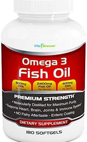 Omega 3 Fish Oil Supplement 180 Softgels 2400mg Triple