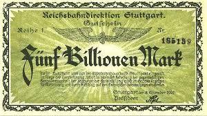 1923 5 Trillion Mark note issued by Stuttgart ReichsBahn