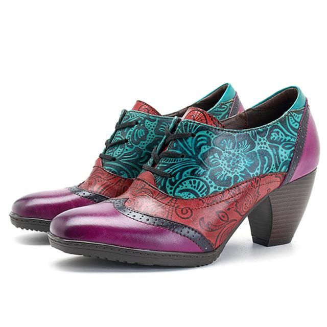 4fade92c2a9b1 ILIYAH Hand-painted Floral Embossed Green/Blue Leather Wingtip ...