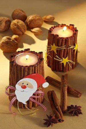 Kerzenständer basteln: Zimtlichter für Weihnachten