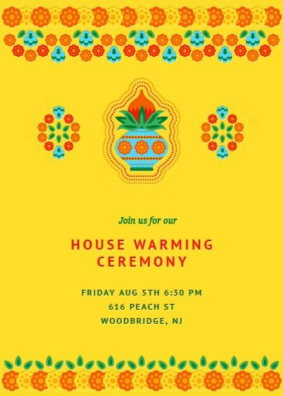 Welcome Your Friends And Family To Your New Abode With A Simply Ornate House War House Warming Invitations Housewarming Invitation Cards House Warming Ceremony