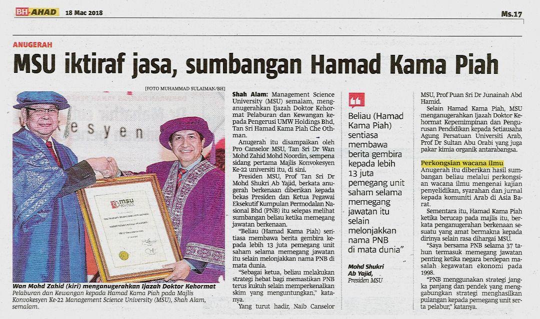 MSU recognizes Tan Sri Dato Sri Hamad Kama Piah