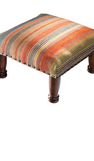 Ooty Stripe Kilim Footstool With Images Footstool Striped