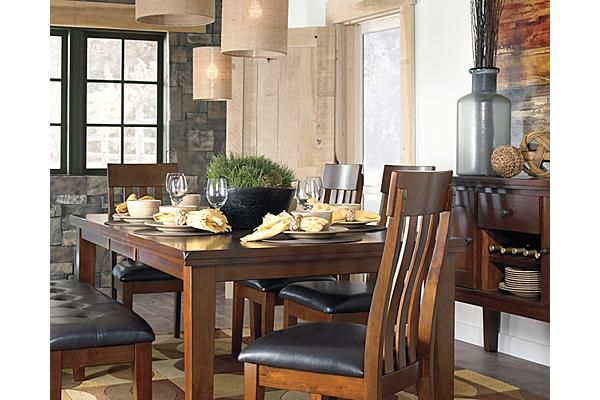 The Ralene Dining Room Extension Butterfly Table From Ashley Furniture Homestore Afhs Upholstered Dining Side