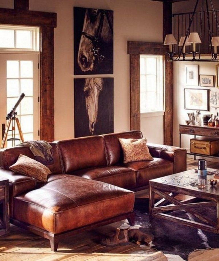 24 Cozy Masculine Living Room Design Ideas With Rustic Style Leather Living Room Furniture Living Room Leather Apartment Furniture Living Room