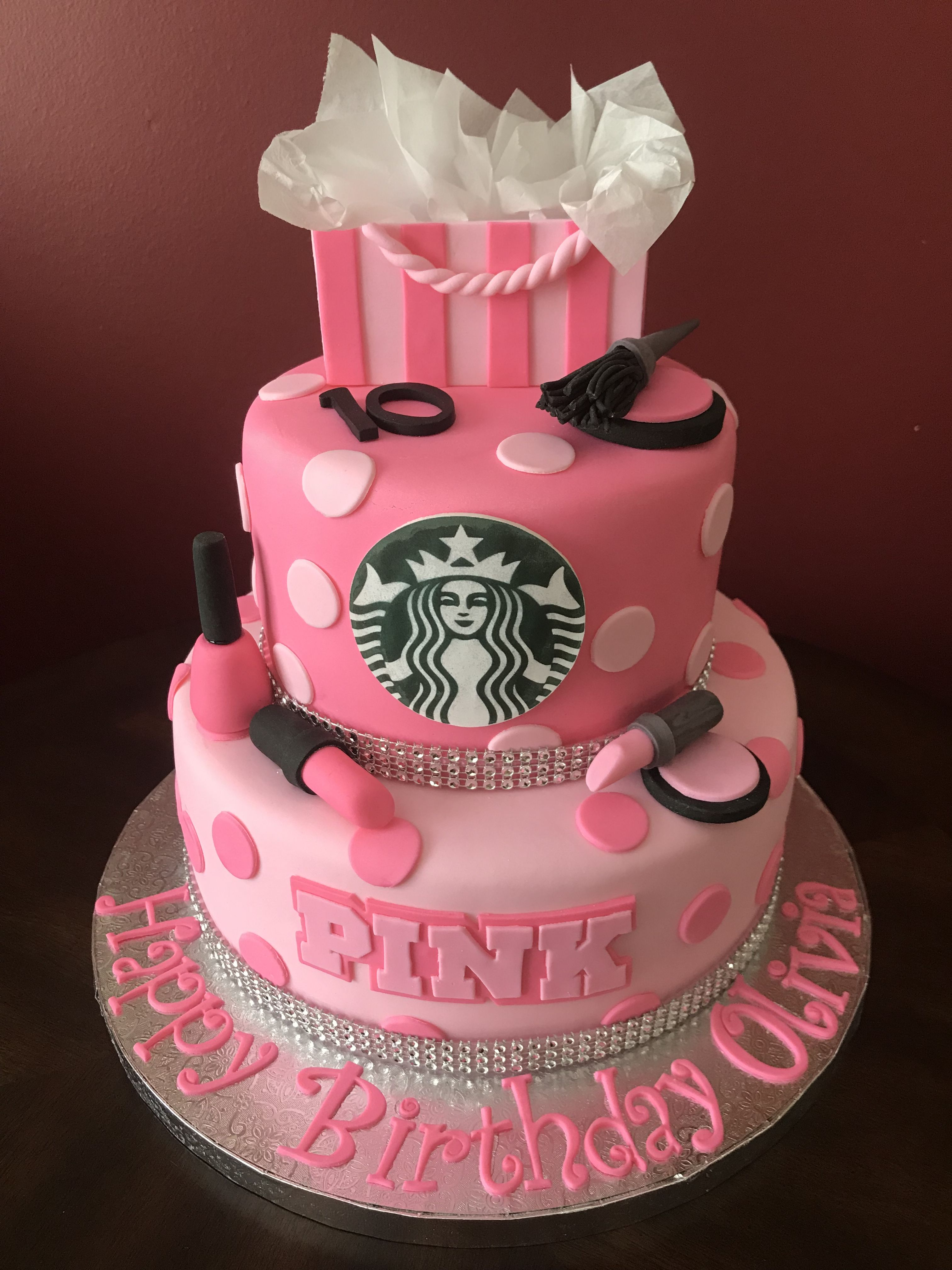 Victoria S Secret Pink Starbucks Makeup Birthday Cake 14th Birthday Cakes Makeup Birthday Cakes Birthday Cakes For Teens