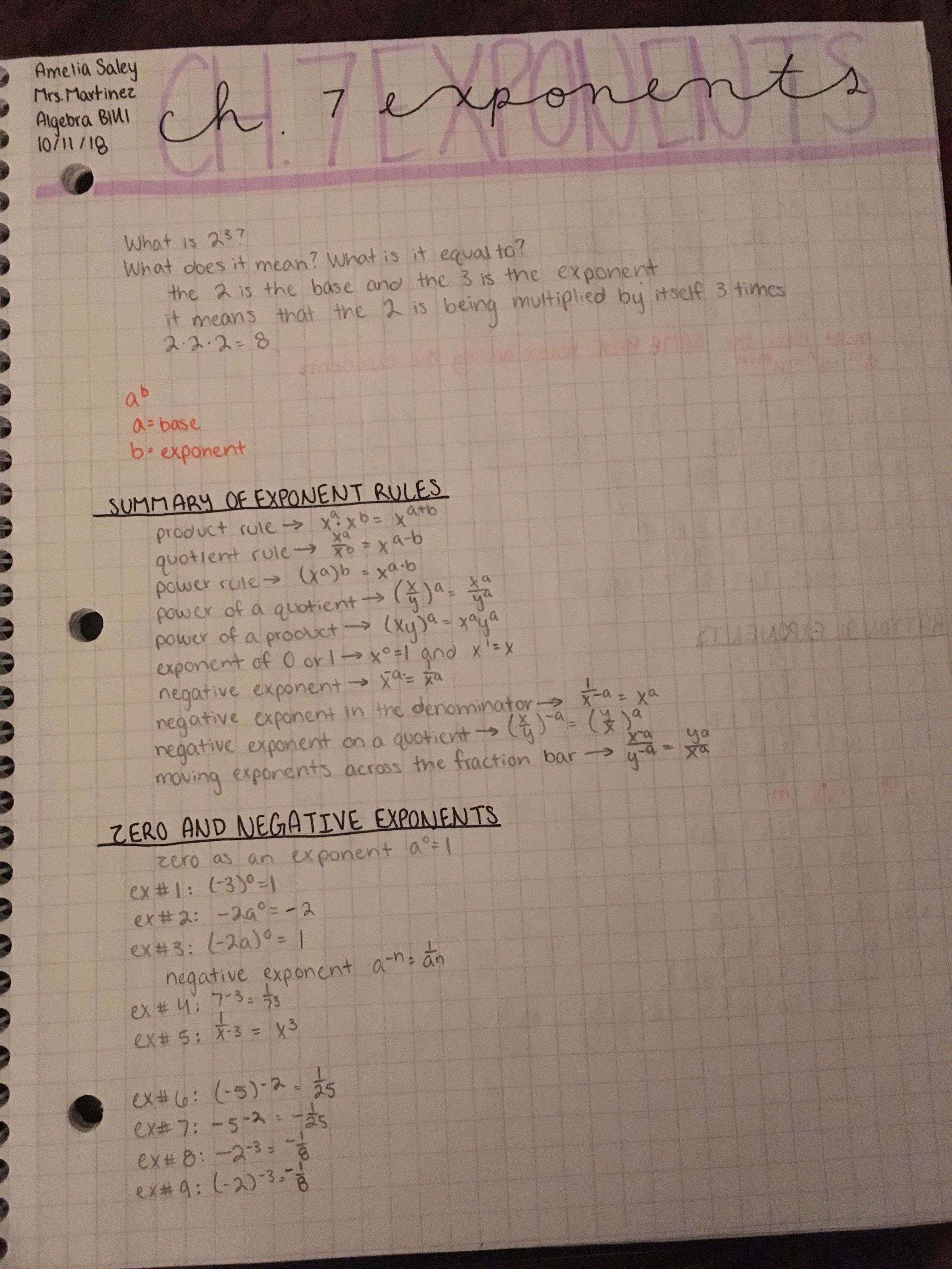 Algebra Exponent Notes Part 1 With Images