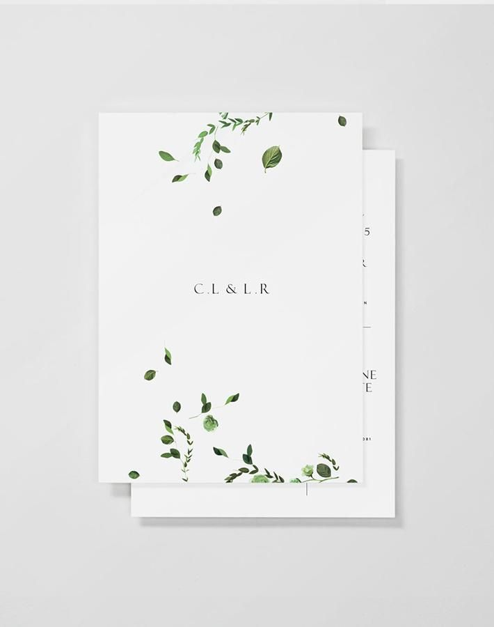 convite de casamento minimalista com as iniciais dos noivos base branca e wedding invitation - E Wedding Cards