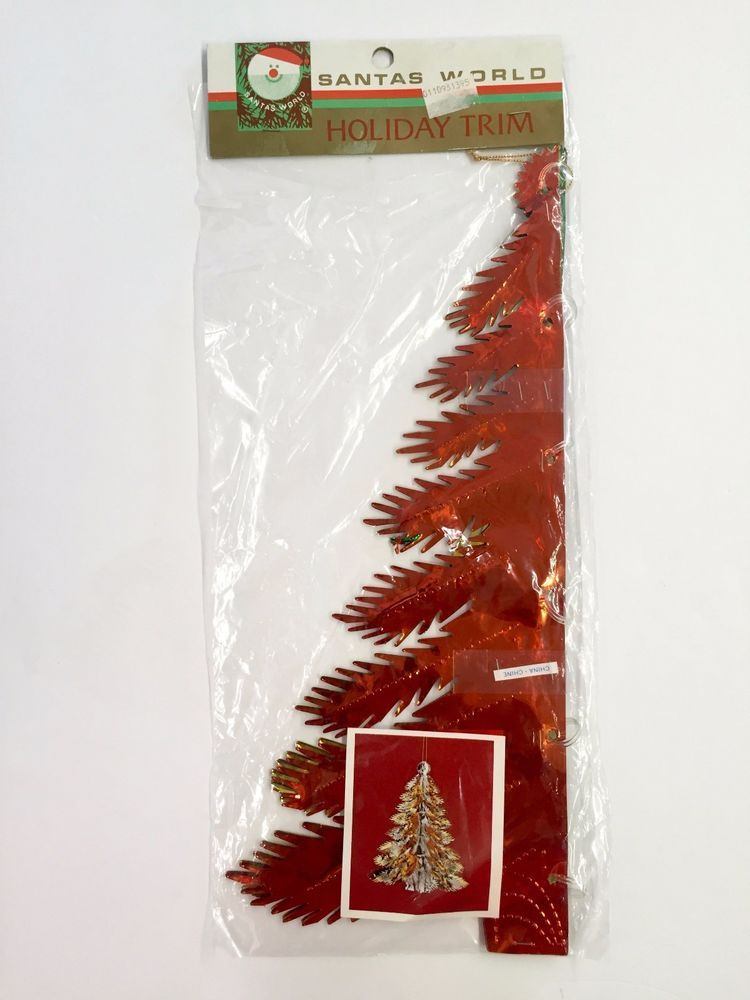 Kurt Adler Metallic Foil Fold Out Christmas Tree Hanging Decoration 15in Nos