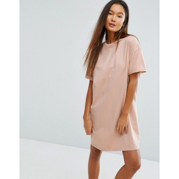 52a39ff2da3 ASOS Ultimate T-Shirt Dress with Rolled Sleeves (€17) ❤ liked on Polyvore  featuring dresses