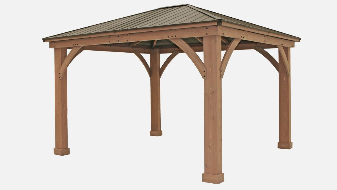 12 X 14 Wood Gazebo With Aluminium Roof Yardistry Structures Gazebos Pavilions And Pergolas In 2020 Outdoor Pavillion Pergola Cost Gazebo