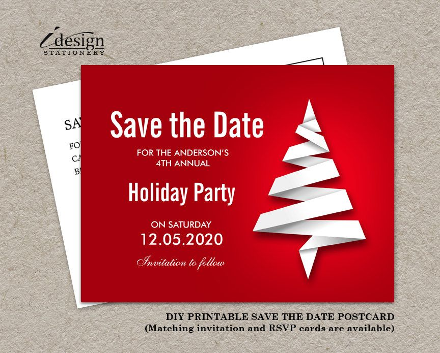 Personalized Christmas Party Save The Date Card With Abstract Xmas Tree By Idesignstationery On Etsy 4 95