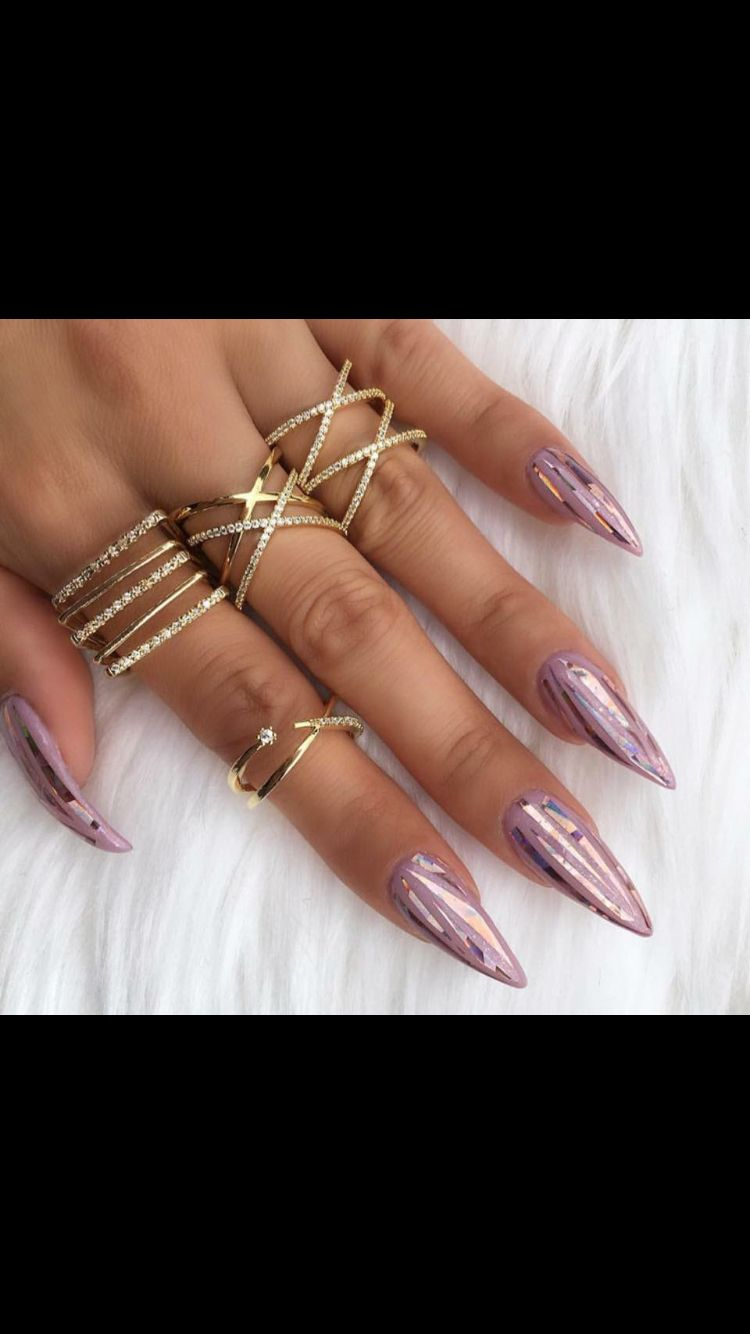 Cute pink metallic nails pointy nails holographic nails tumblr ...