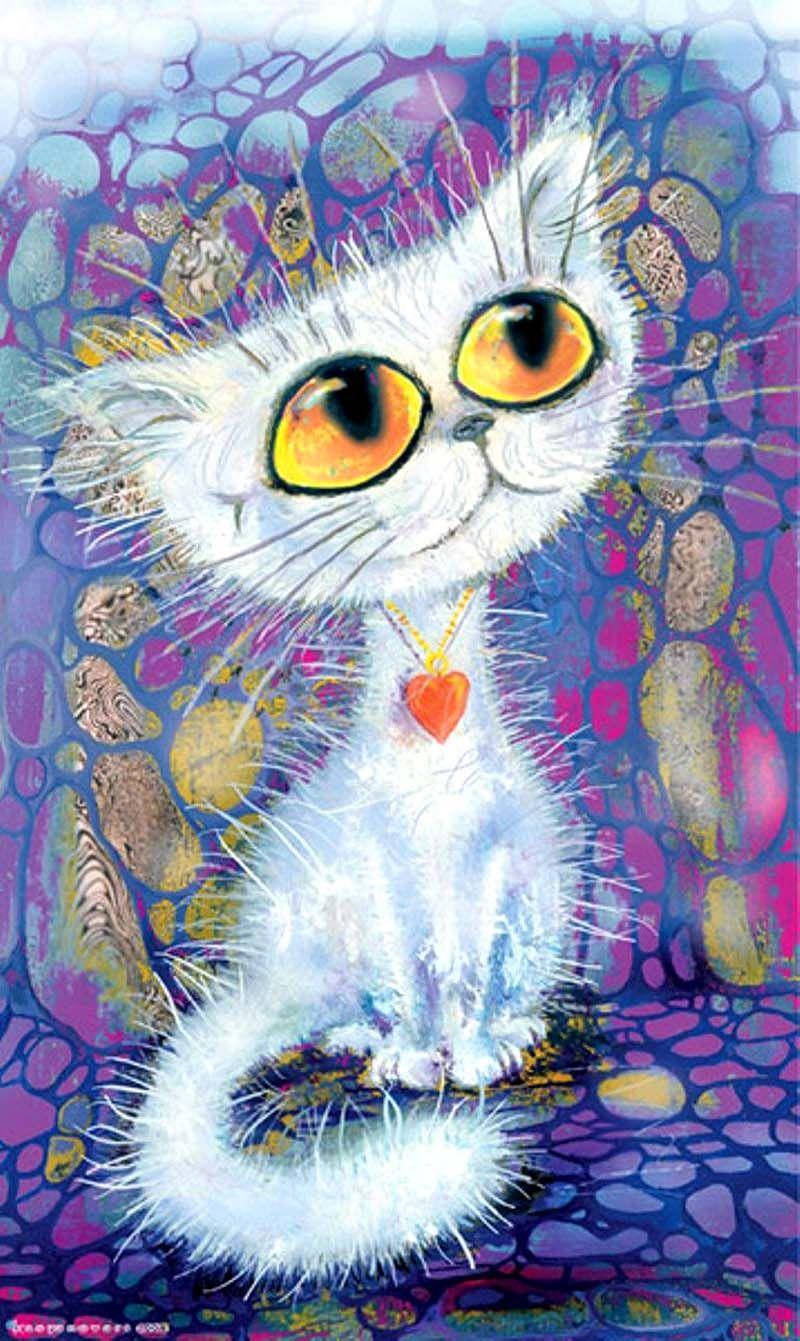Кошка нарисованная картинка прикольная