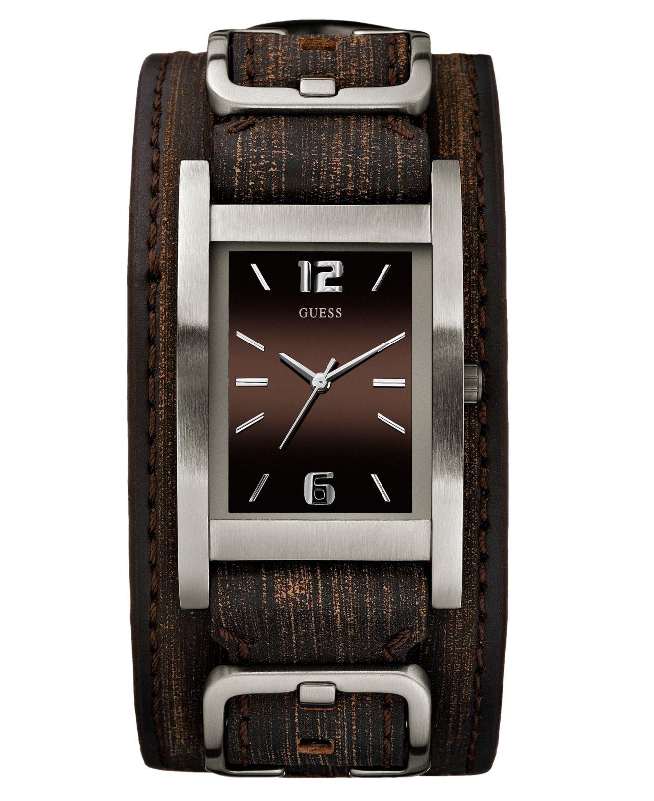 86cb283c8 GUESS Watch, Men's Brown Leather Cuff Bracelet 32x40mm G66391G ...