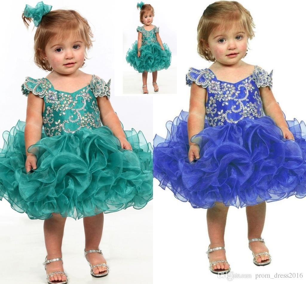 2016 Little Girl Flower Girl Dress Blue Baby Girl Infant Toddler Birthday Pageant Dress Short Length Ruffled Fashion Ball Gown Tutu Hy951 Purple Flower Girl Dresses Cheap Ball Gowns From Prom_dress2016, $89.45| Dhgate.Com
