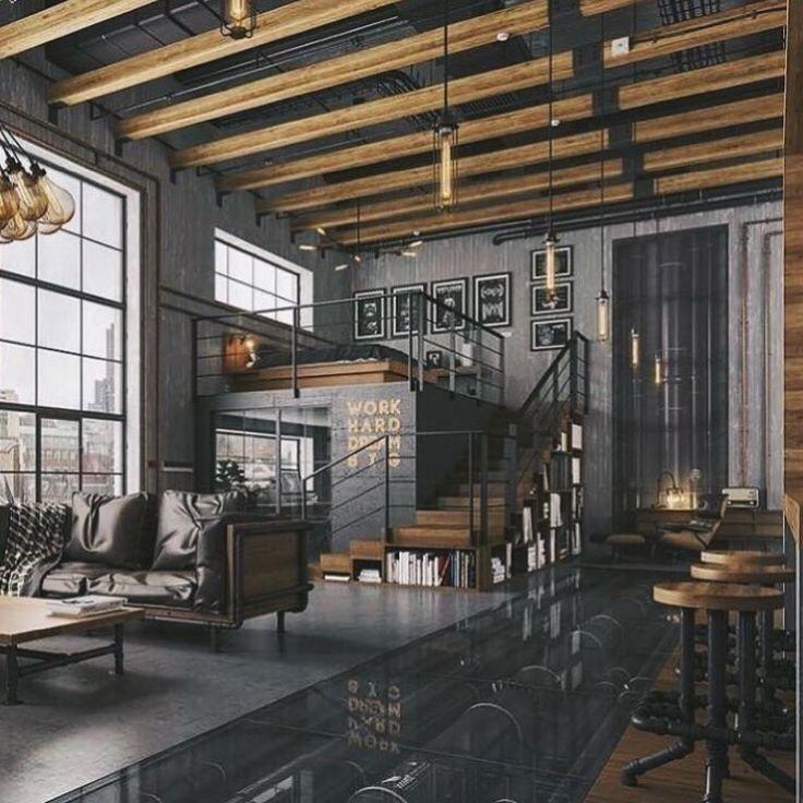 Photo of Modern loft with industrial properties. #Loft #industridesign Mod …