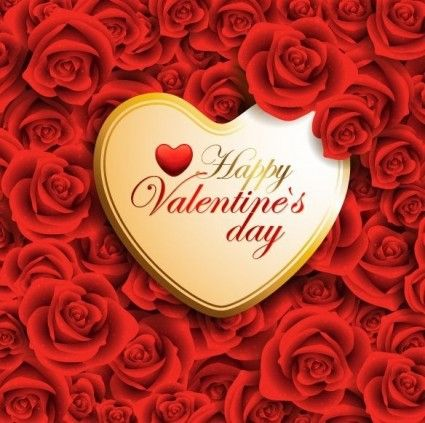 Vector Red Valentine Heart On Roses Background Vector background ...