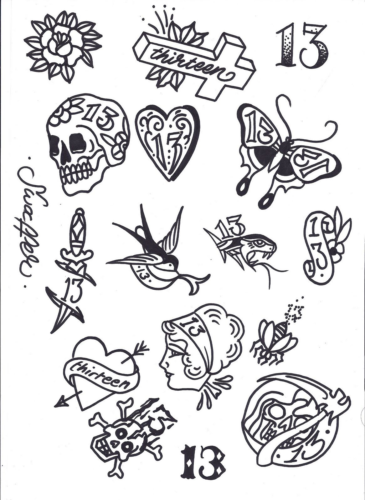 Friday 13th Tattoo Flash Art 13 tattoos, Flash tattoo