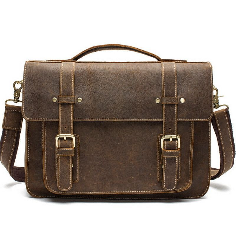 8936d6d25cf4 Crazy Horse Leather Men Bag genuine leather handbag laptop men s briefcase  tote men messenger bags shoulder vintage mens bag