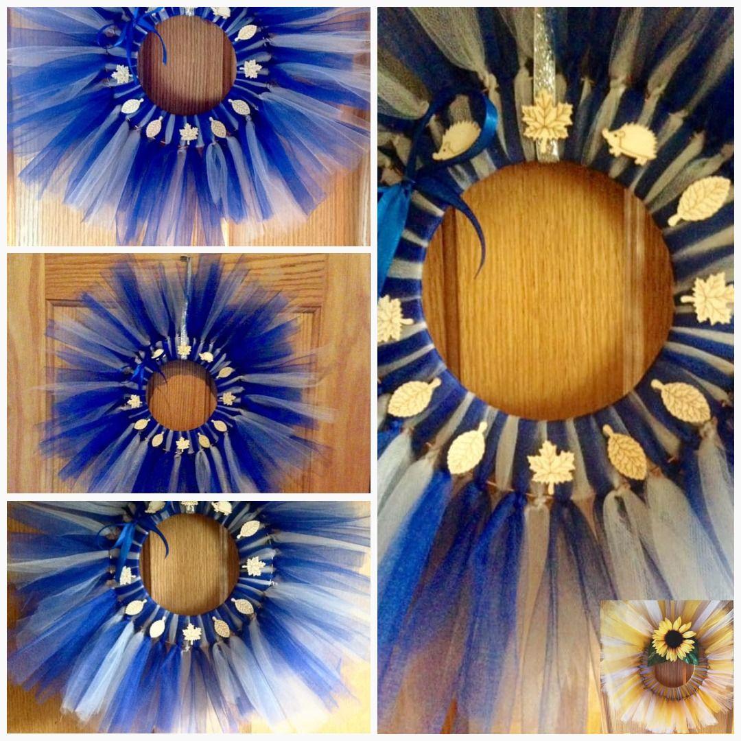 Blue and silver door wreath #blue #WallSigns #RusticWreath #BlueWreath #FrontDoorWreath #AutumnWreath #DoorSign #DoorAccessories #AutumnalWreath #SilverWreath