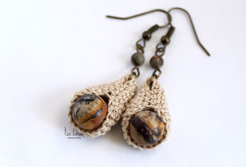 Cream beige Jasper gemstone crochet earrings. Bohemian shabby chic jewelry. handmade Fiber jewelry by DeLorai on DaWanda.com